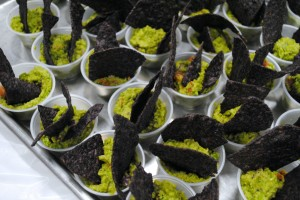 Samples of pea guacamole with blue corn chips at the WHS Health Fair