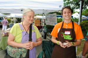 Abbie chats with Healthy Waltham Executive Director Judy Fallows at the Farmers Market
